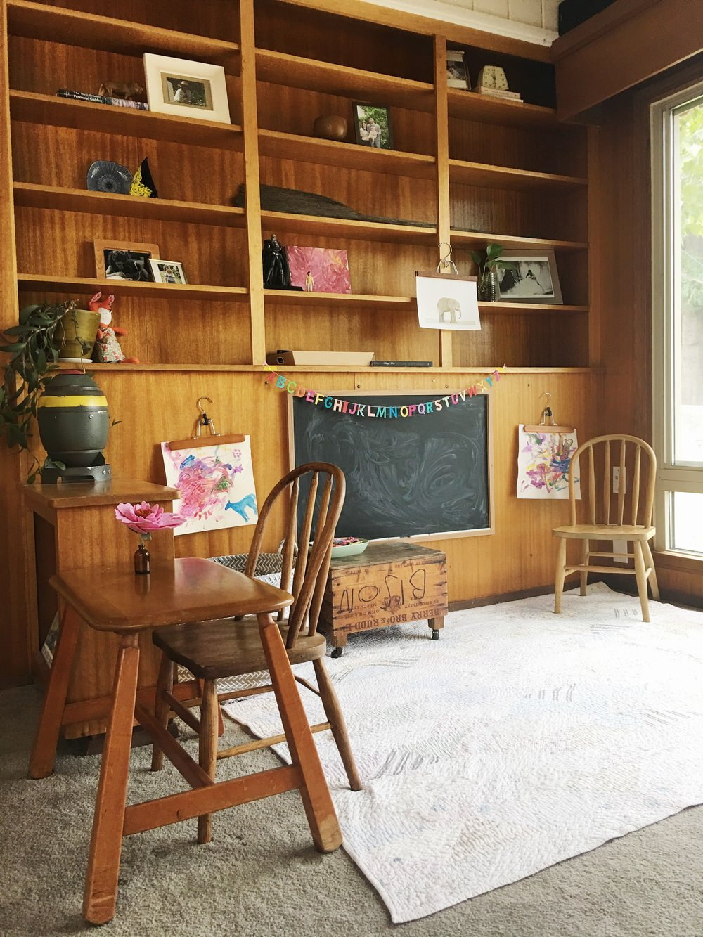 modern wood paneling play room