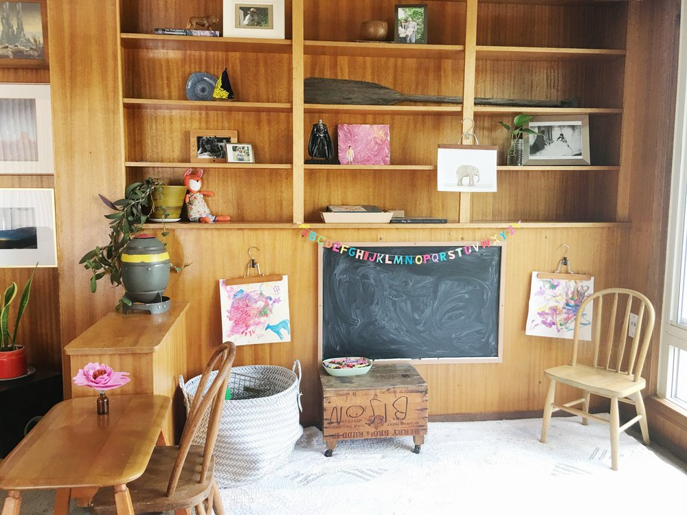 wood paneling modern kid's play room
