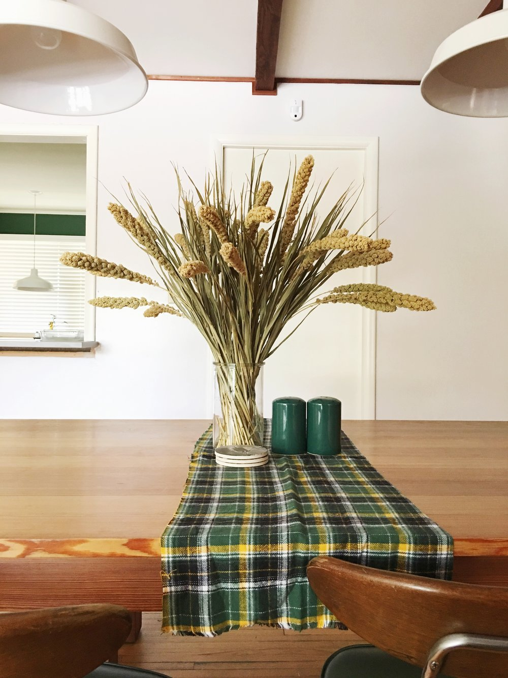 fall home decor + plaid table runner