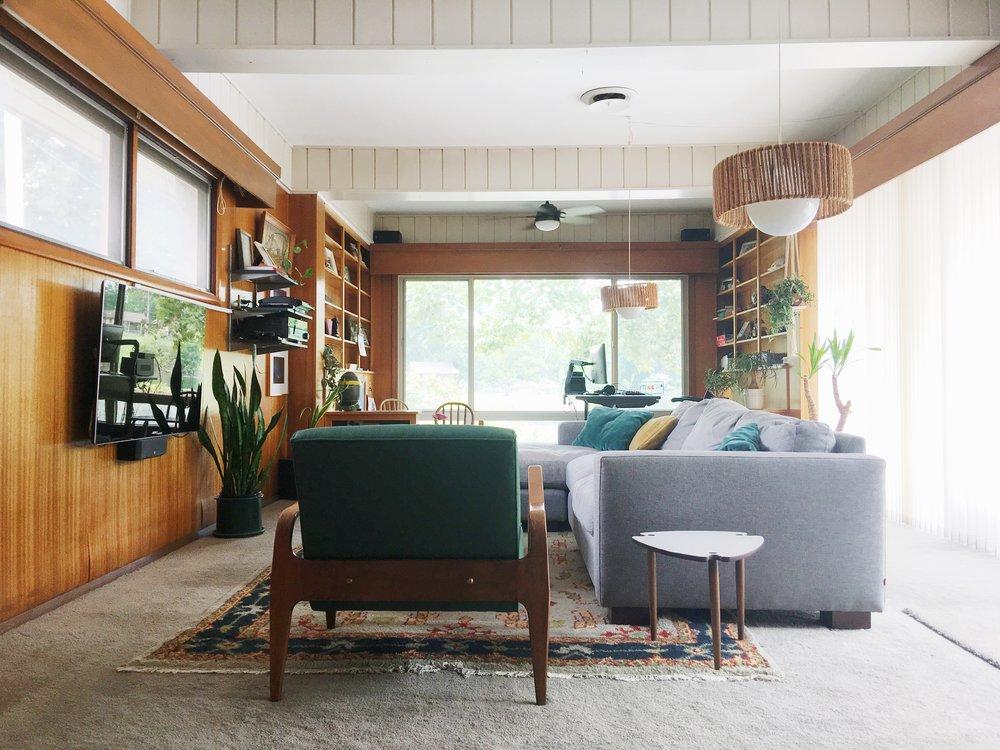 vintage modern wood paneled den