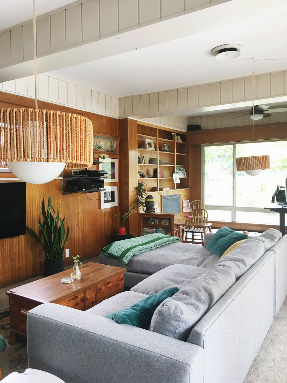 wood paneled modern den