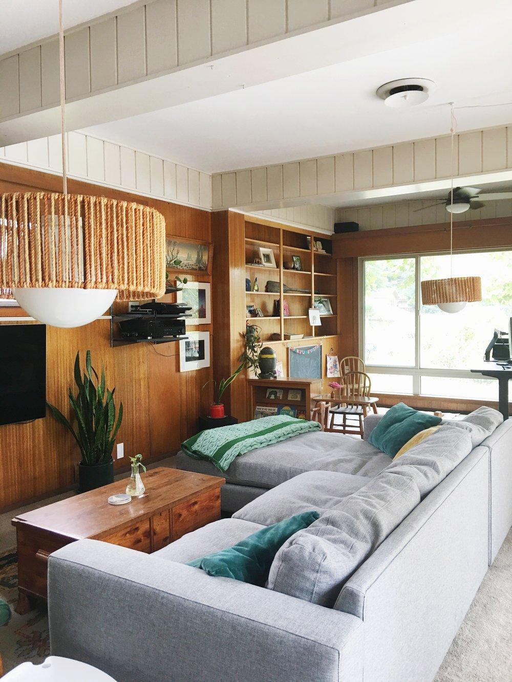 wood paneled modern den