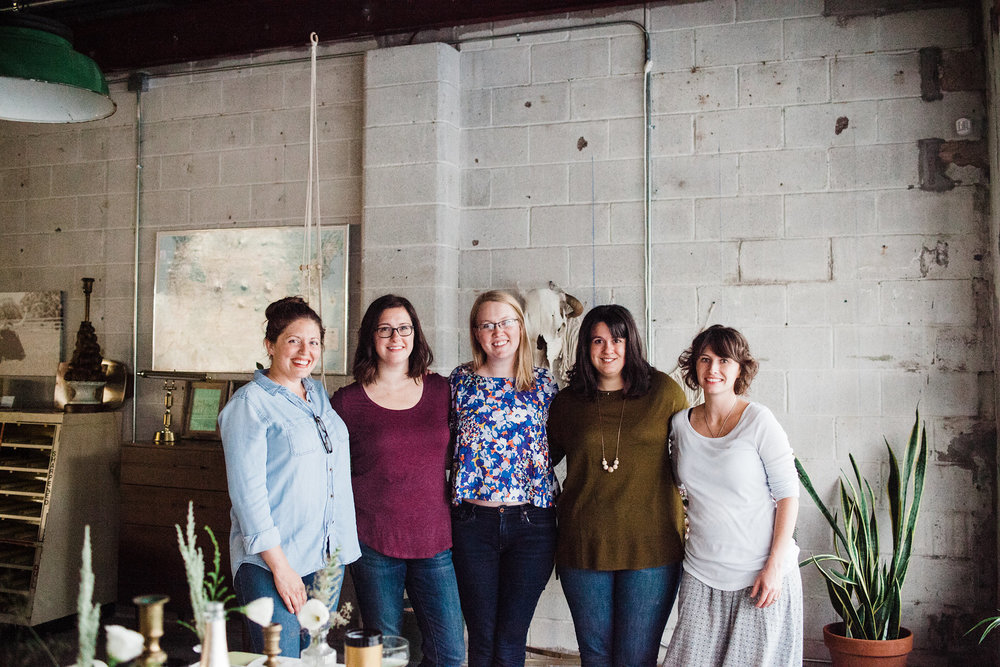 From right: Tasha Ball of House Sparrow Fine Nesting, Whitney Wade and Ruby Murry of Laurel and Marie, and Ashley Daly and Ashley Palmer of Retro Den