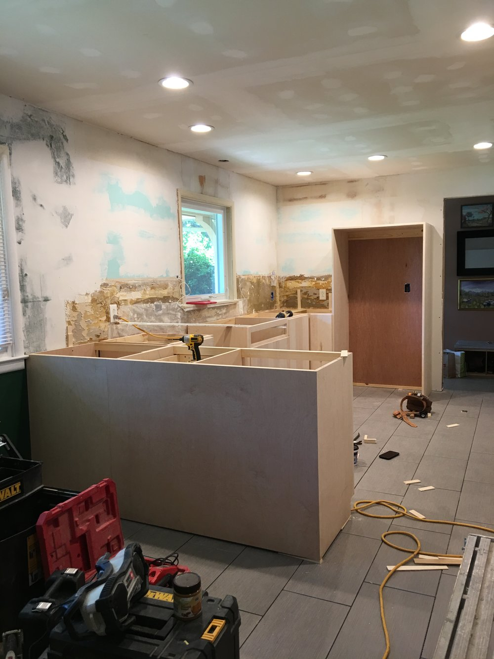 Cabinet installation day in May with Micah of  MJM Construction  was another big highlight for us. It really made the new kitchen feel real!