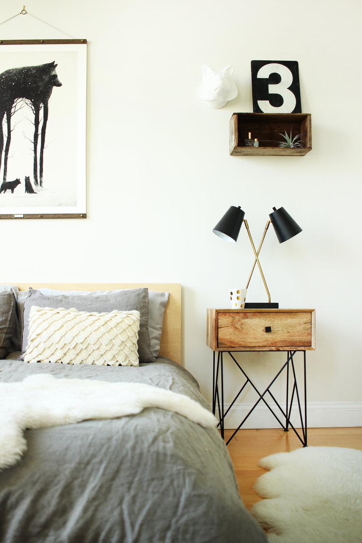 Karen's calm, luxurious bedroom.