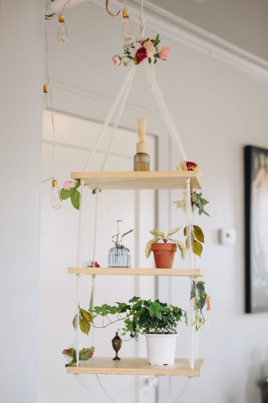 modern wooden plant shelf