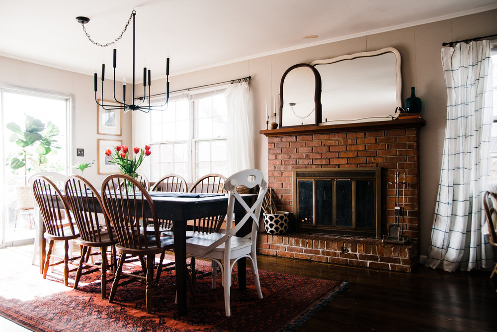 The dining table belonged to Rachel's mother-in-law and the rug was an amazing Craigslist find.