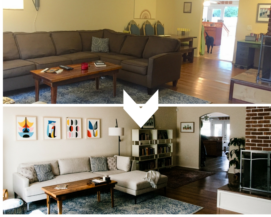 Sofa swap:    They opted for a new sofa knowing the lower profile of a sectional with a chaise would help open the whole room into one space.
