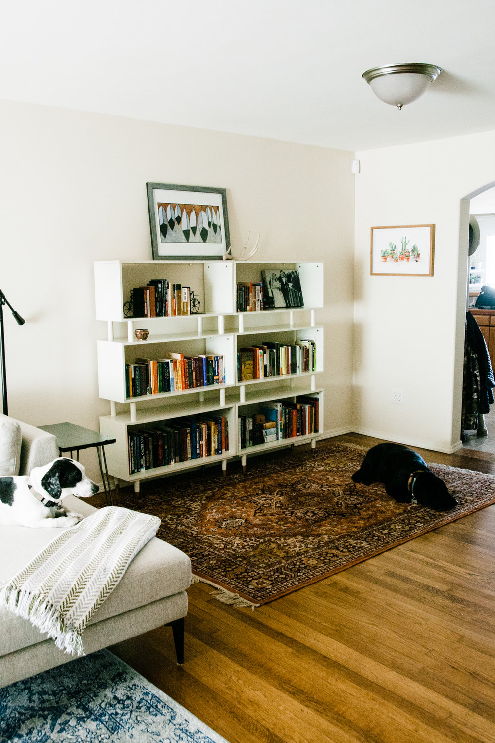 Shopping the home:    We shopped their home and found this gorgeous rug being underutilized in another room and brought it out to the library space we were creating.