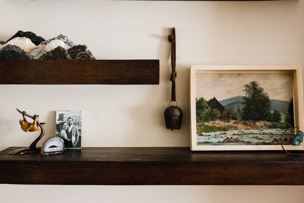 We encouraged the couple to display meaningful artwork and objects they loved, plus family photos.