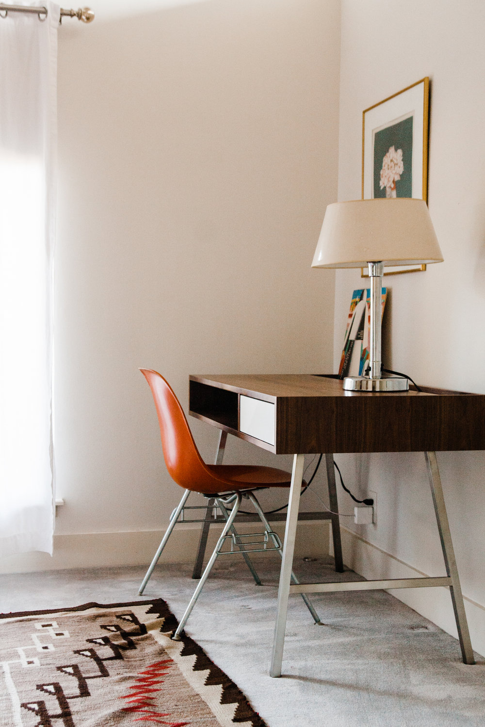 We loved the simplicity of the  Gus* Junction desk . it definitely added the sophisticated feel Annie wanted.