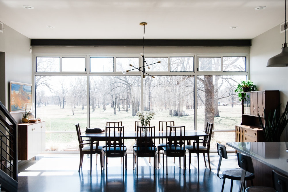 Hannah used very few window treatments in the home because of their rural location. The natural light throughout the space is amazing.