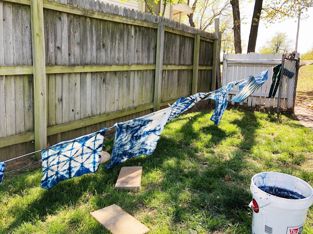 This past weekend, I attended an indigo   shibori workshop at the beautiful home of Tasha Ball of House Sparrow Fine Nesting. I am still deciding what to do with my dyed yard of fabric. Artwork? Table runner? Pillows? The sky's the limit. Check out Tasha's line up of  summer workshops . -Palmer