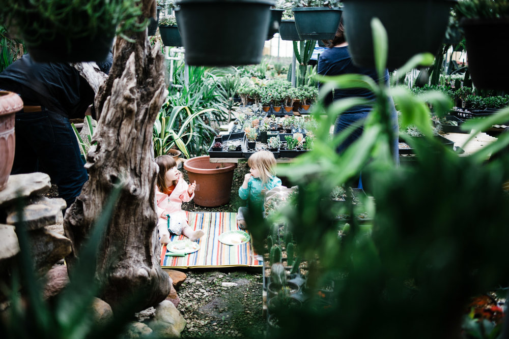 Our little girls picnicking among the plants. Wonder what they're discussing.