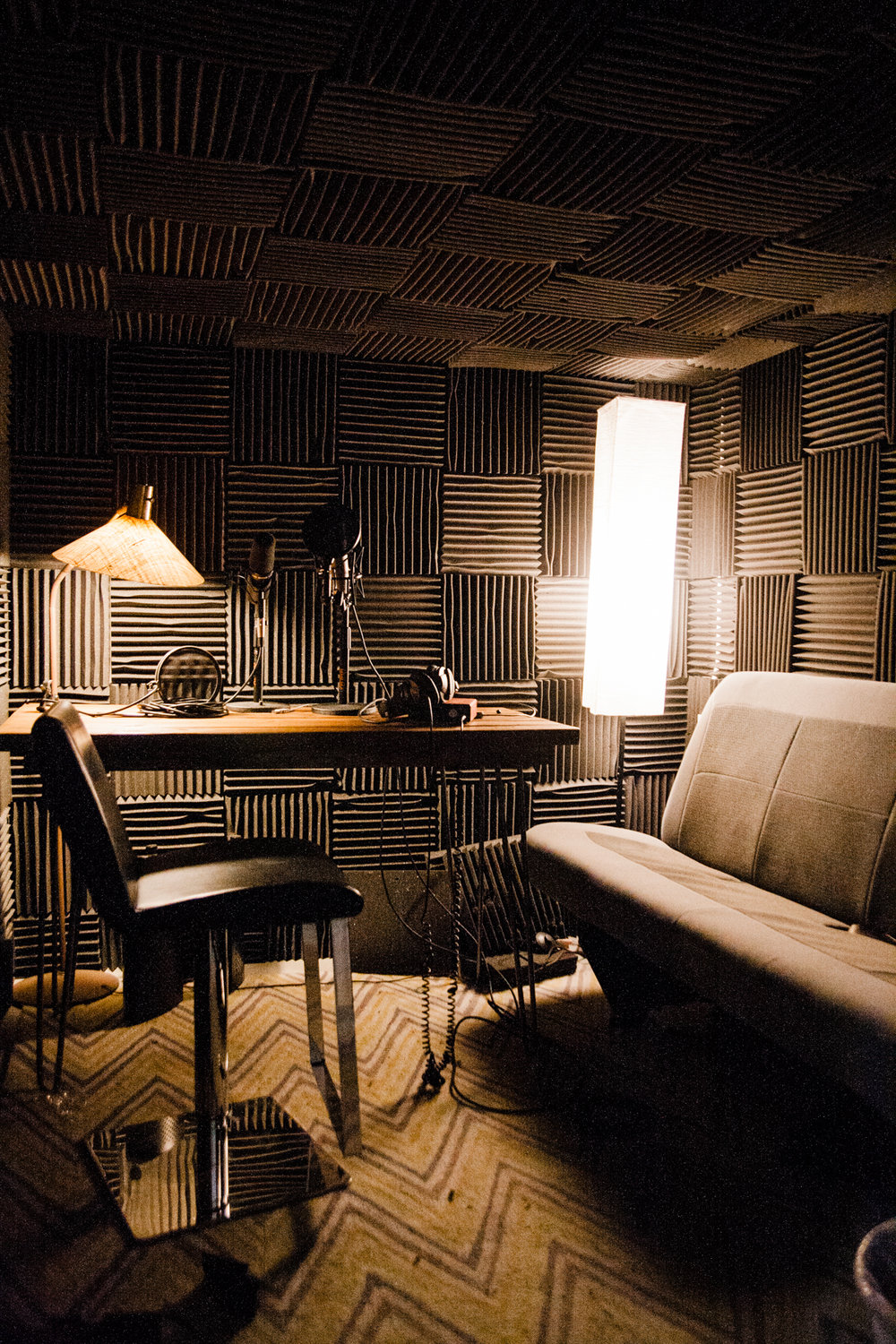 Sound booth! Table and lamp from Retro Den!