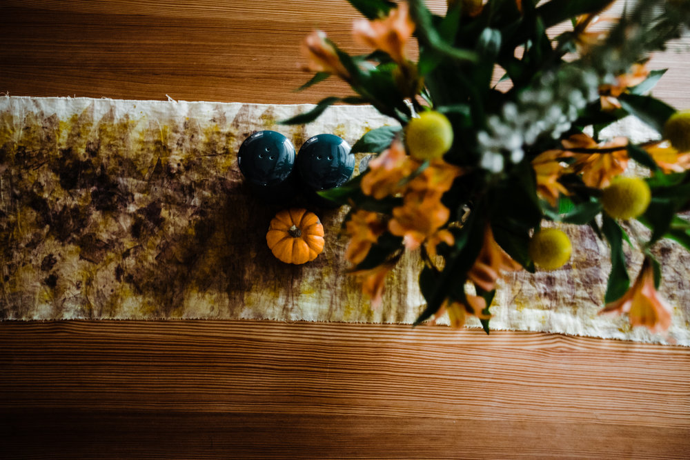I was excited to display my table runner that I dyed myself with plants at a    House Sparrow workshop   . It's one of my favorites!