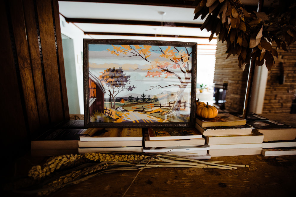 I moved a fall scene from my mud room to the dining room. I love vintage paint-by-numbers.