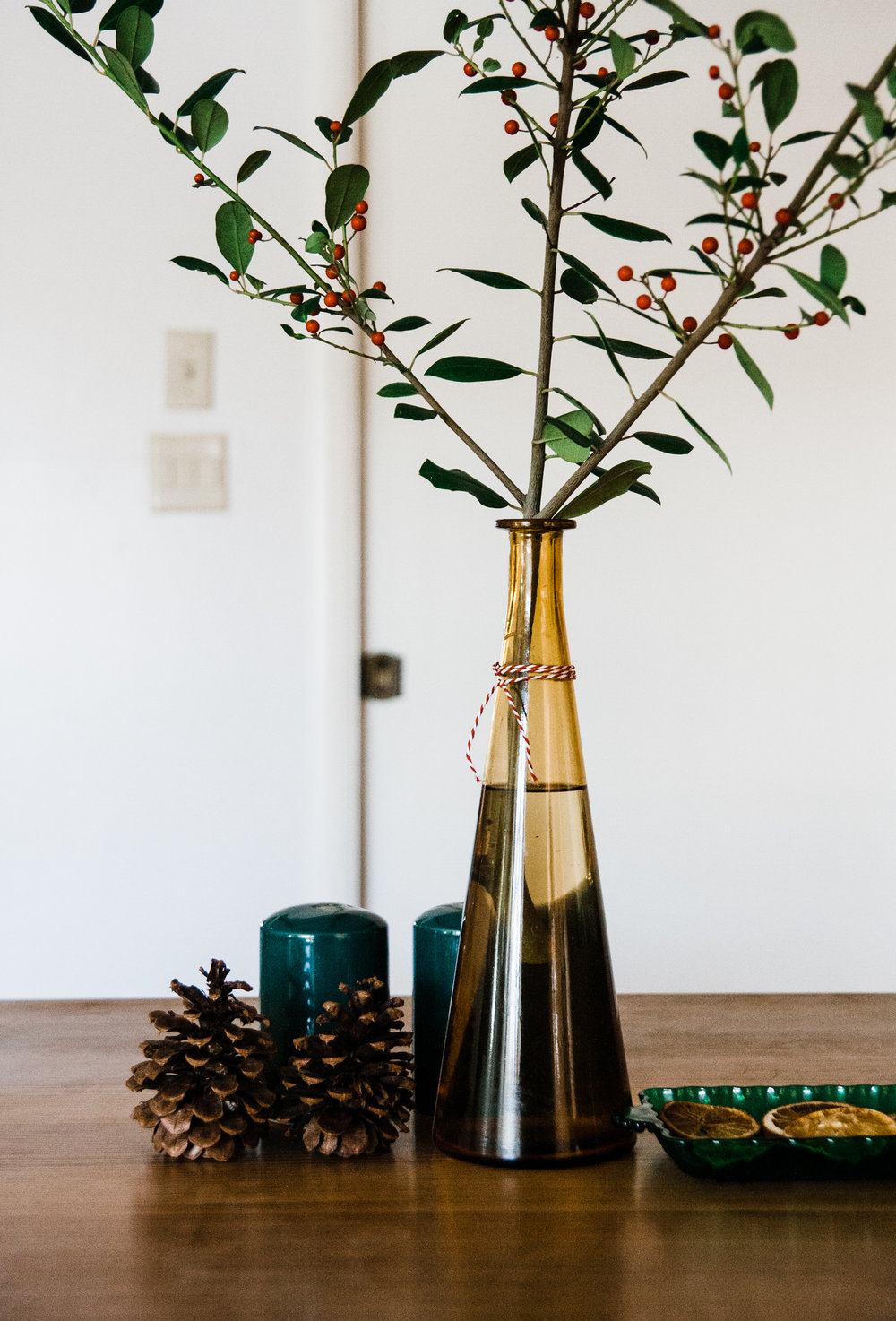 Can it get any easier than clipping holly bushes to put in a vase on your table?