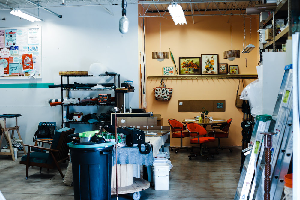 Our little office space is nestled in our workshop where lots of furniture and upholstery repair happens.