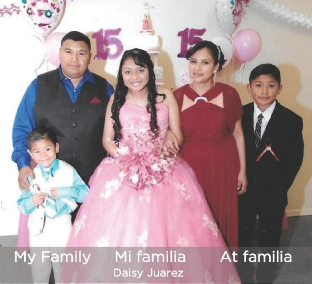 My Family | Mi familia | At familia   Daisy Juarez lives in San Francisco and her family is from Guatemala. Read along in English, Spanish, and Mam to learn about Daisy's family. Daisy Juarez vive en San Francisco y su familia es de Guatemala. Lea en inglés, español y mam para aprender de la familia de Daisy. Daisy Juarez, antza taya san francisco a tzin tfamilia antza iteya guatemala, nuji tej toxil yol ingles, jni tej espanol y toj qyol taj tuin tel tnik tij tfamilia Daisy.   Buy this book.