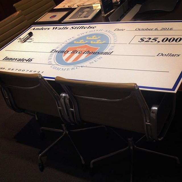 We brought the BIG checkbook to #innovate46 today! One of the nominees will soon be named winner of the Anders Wall Entrepreneur of the Year Award!🌟