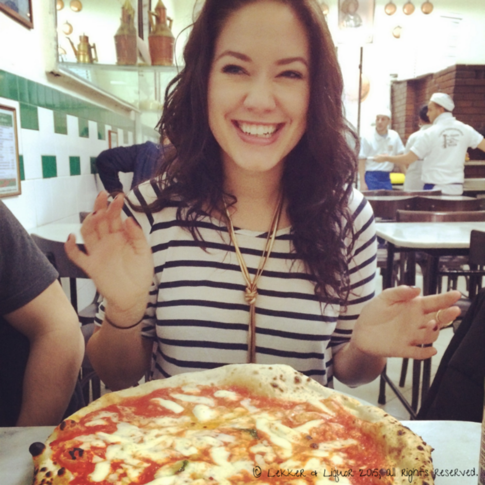 ...dis me. (Last year. I have blonde hair again. But I really like this picture because it shows how happy pizza makes me.)