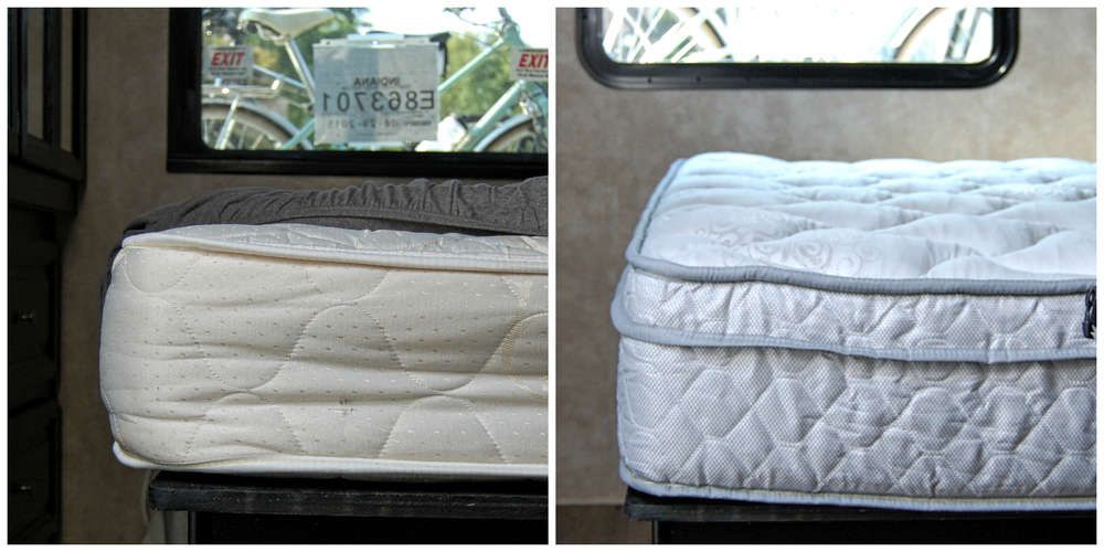 L: Old RV mattress. R: Luxurious Denver Mattress RV Collection upgrade.
