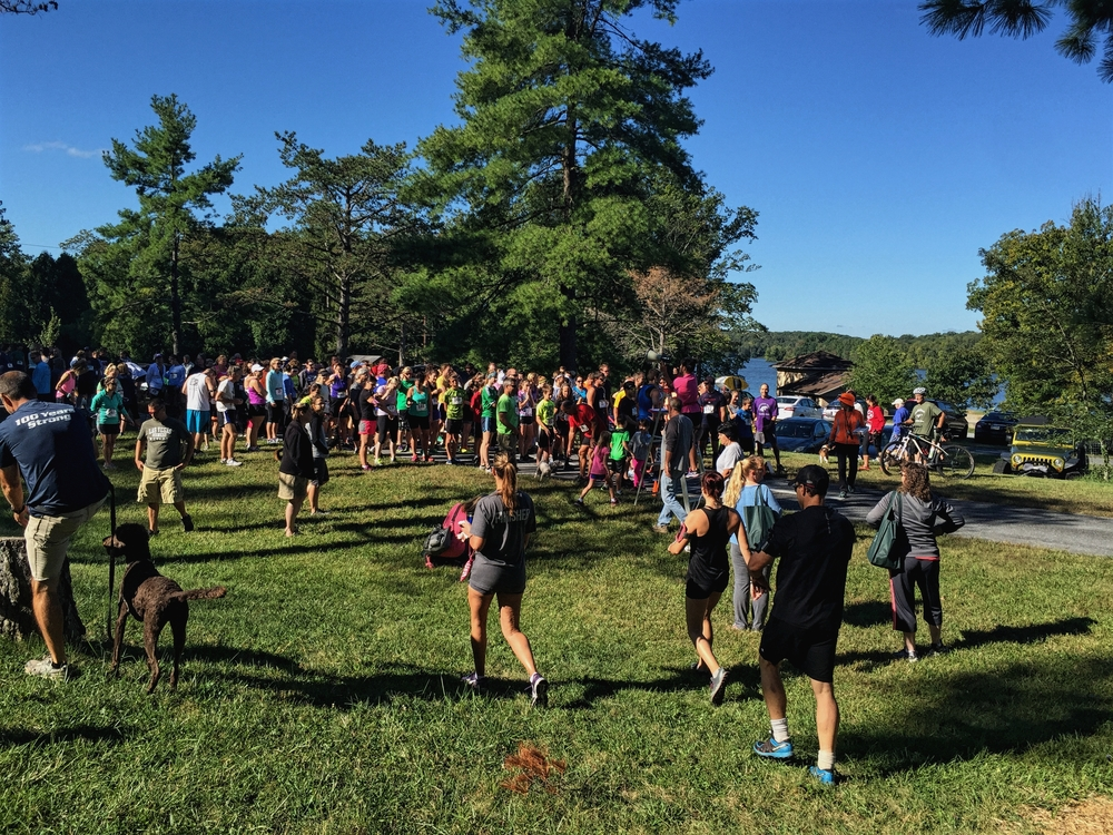 Watching the start of a 5K, after a blessing of the animals.