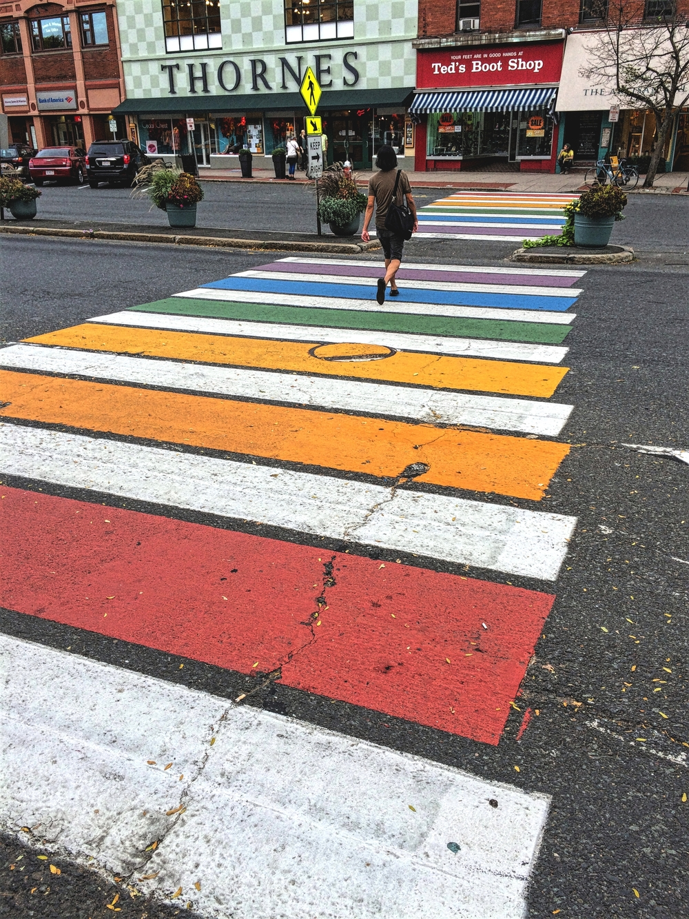 Painted crosswalk, Northampton.
