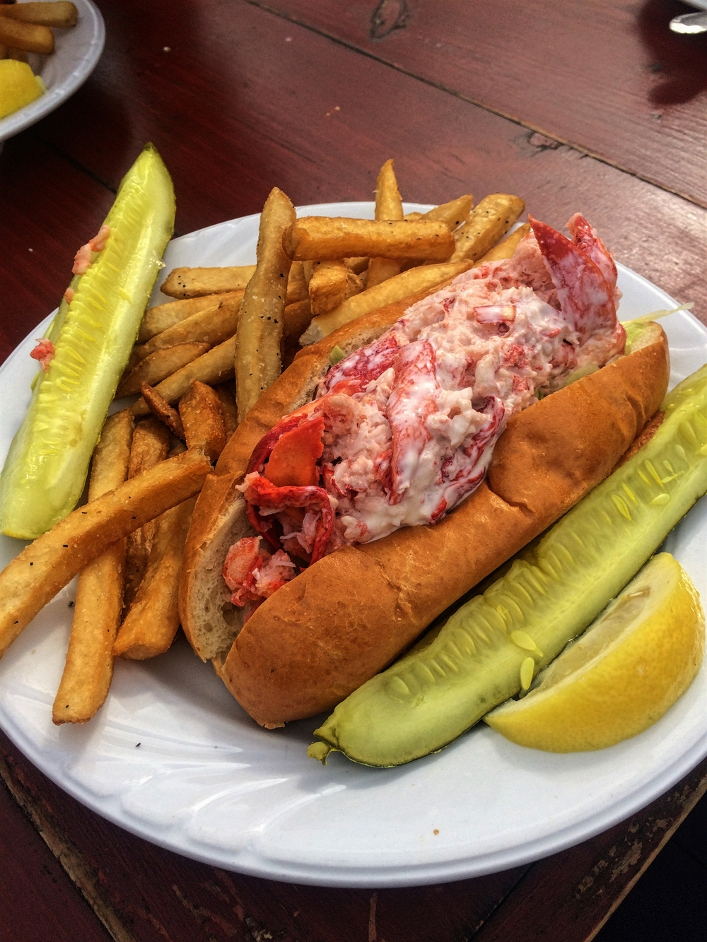 You can tell this is Alexandra's plate thanks to two things. 1: mayonnaise on the lobster roll. 2. extra pickles.