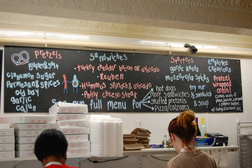 The menu at Pretzel & Pizza Creations.