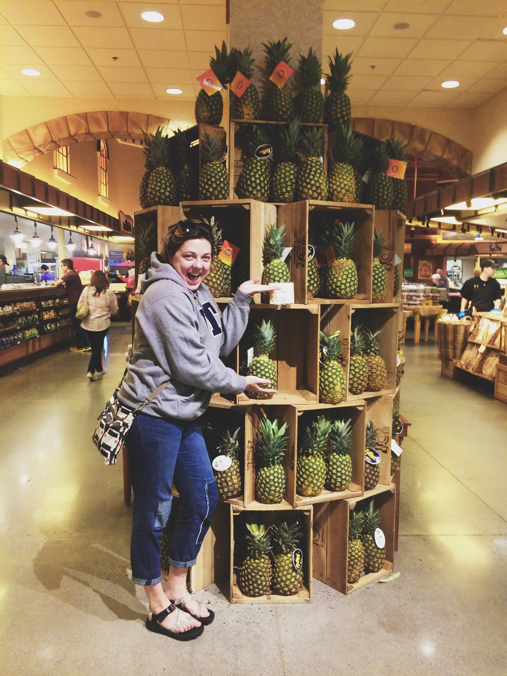 I couldn't not include this photo. I mean really. Wegman's is the place of dreams. A tower stacked high with fresh pineapples!