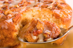 We make it all from scratch, every day in every restaurant. Our Peach & Pecan Bread Pudding, topped with a dark rum sauce.