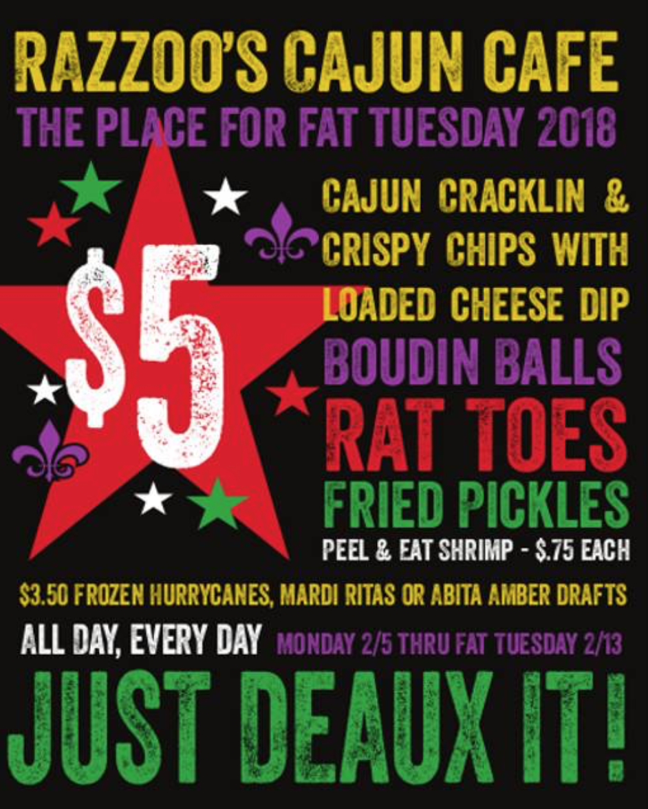 fat tuesday specials razzoo's cajun cafe