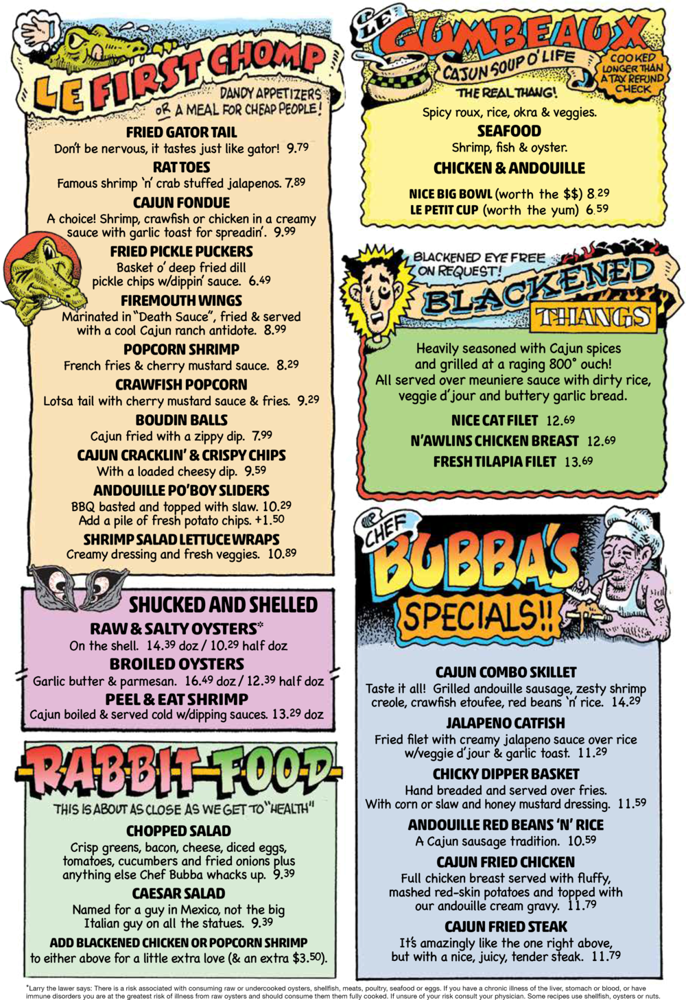 Menu Razzoo S Cajun Cafe