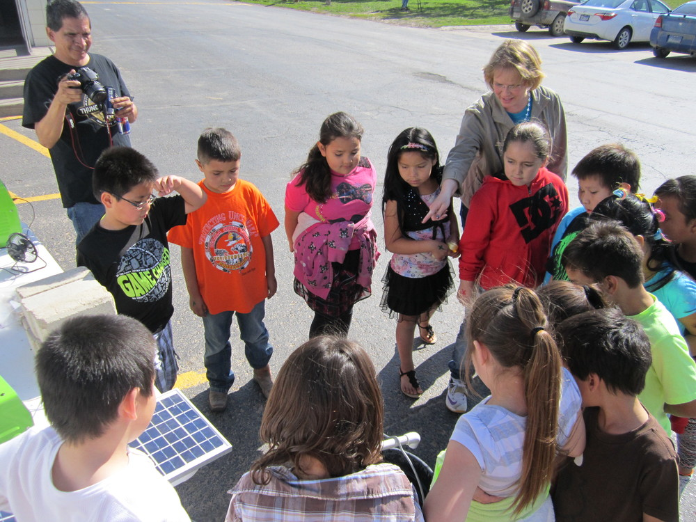 Students from the Red Cloud Indian School learn about solar PV on Earth Day.