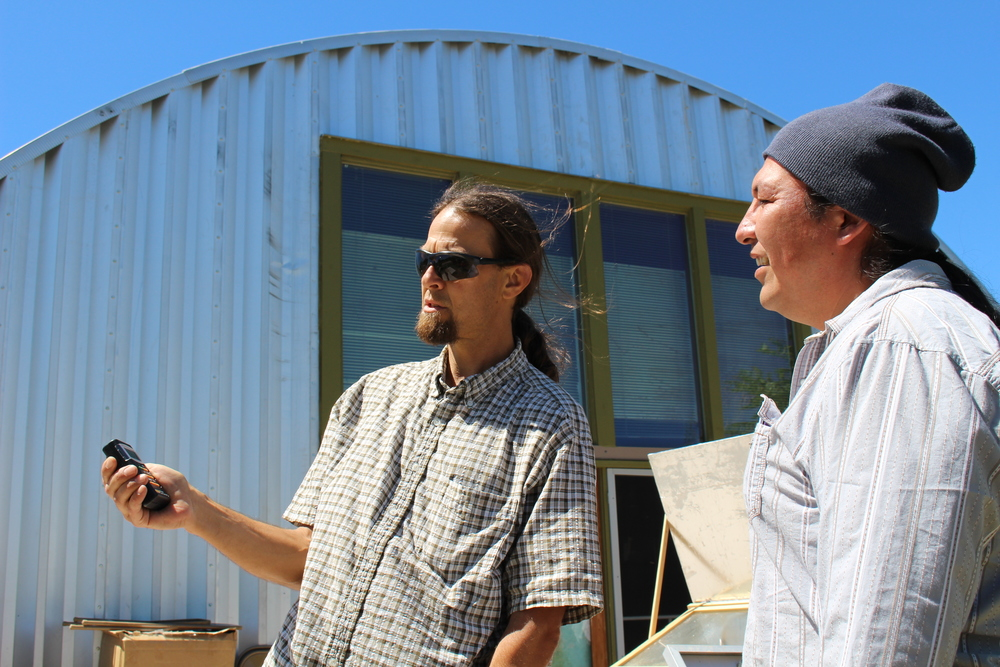 Jeff Tobe shares his extensive solar energy knowledge with student Hazen Lamere, a member of the Sisseton-Wahpeton Dakota Tribe.