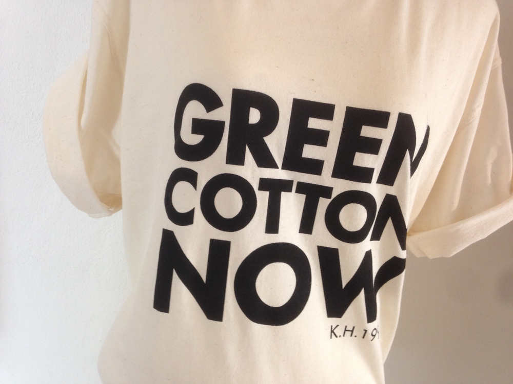 """The worlds first organic cotton t-shirt"" - or maybe the second, but definately the the one that got the most attention - and this one designed by the legendary english fashion designer Katharine Hamnett."