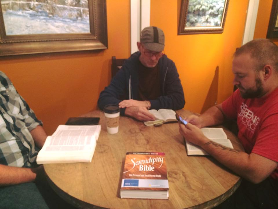 Jay, Ed, and Derek, using the Serendipity Bible to discuss Nehemiah at a local coffeehouse.