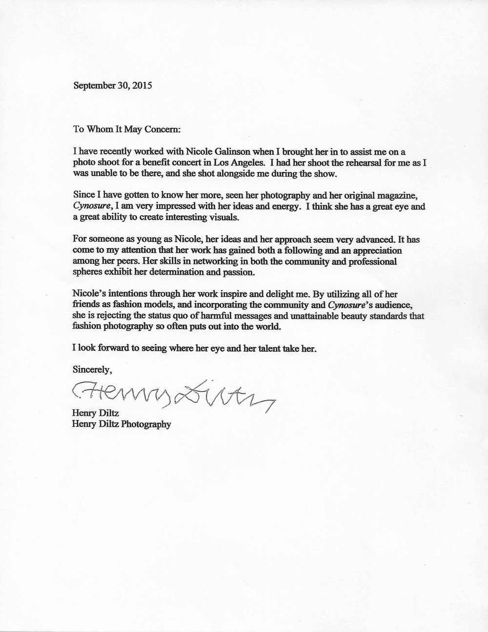 henry diltz letter of recommendation