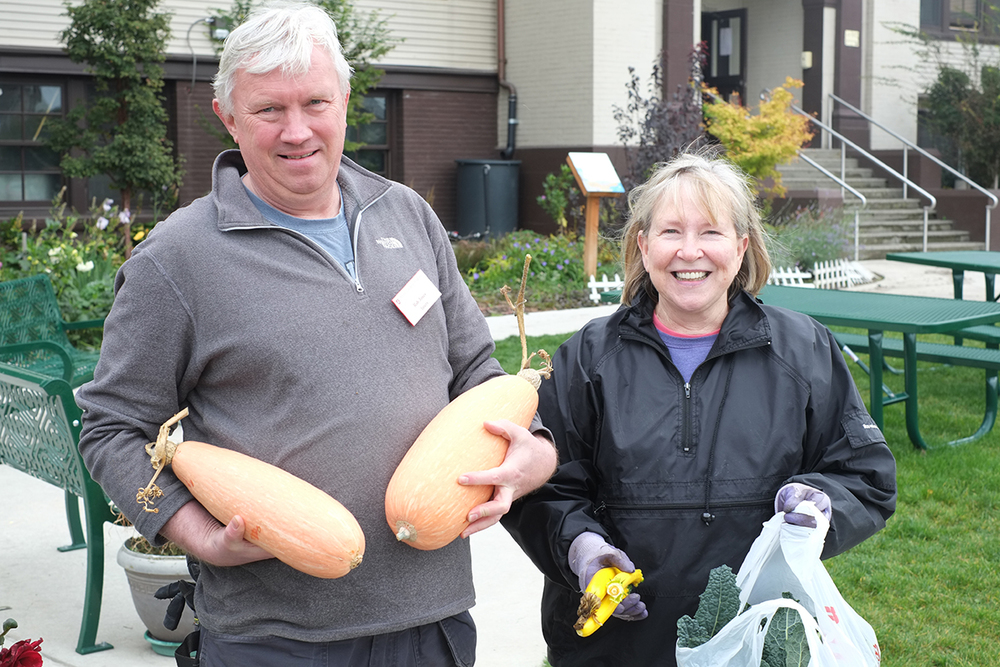 Rick and Cheryl, two passionate Master Gardeners, on their way to the local food bank with generous donations.