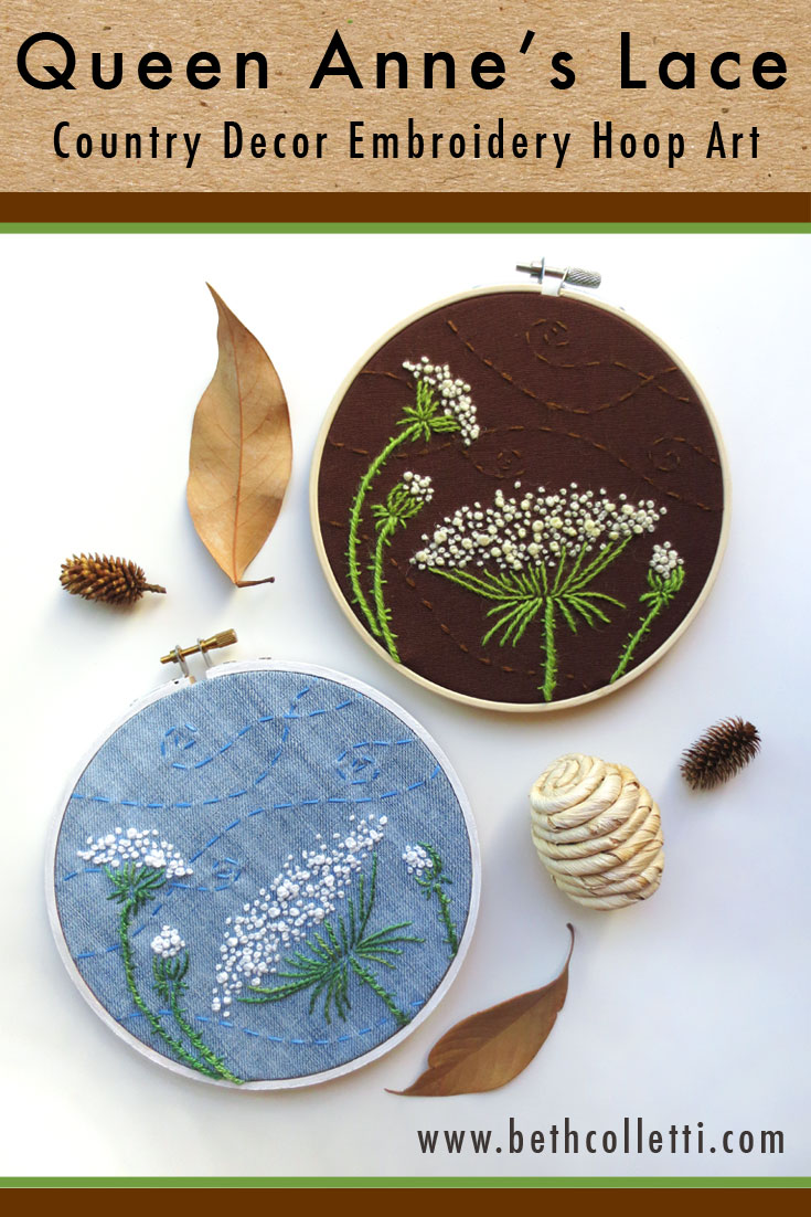 Queen Anne's Lace Embroidery Hoop Country Decor