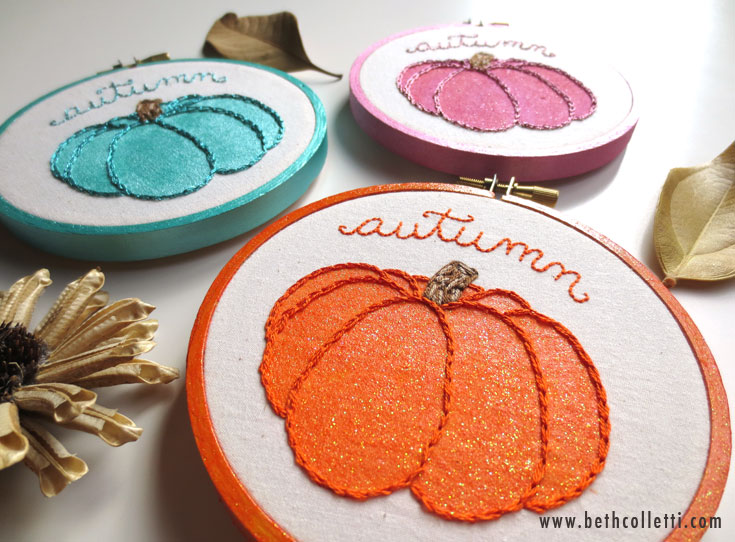 Made to order pumpkin embroidery hoops are available in 3 colors.