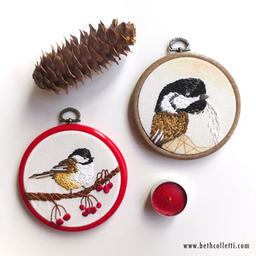 Chickadee Bird Portrait examples in 4-inch hoops.