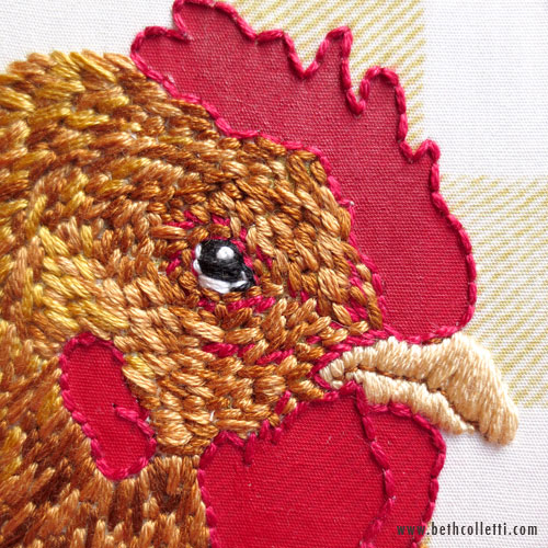 Close-up of Hen Embroidery