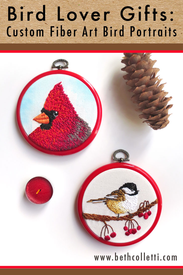 Bird Lover Gifts: Custom Fiber Art Bird Portraits