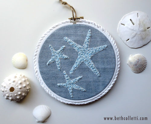 This dressed up denim with white roping doubles as a beachy starfish scene.