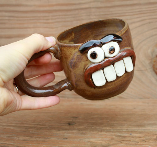 I cannot help but love the goofy personalities of  Nelson Studios ' Ug-Chug mugs.