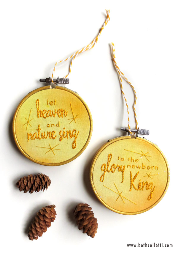 Yellow and Gold Christmas Ornaments by Beth Colletti