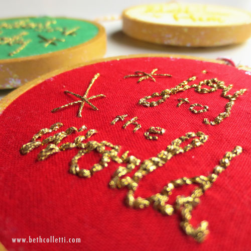 Detail of a collection of traditional ornaments using metallic gold thread by Kreinik.